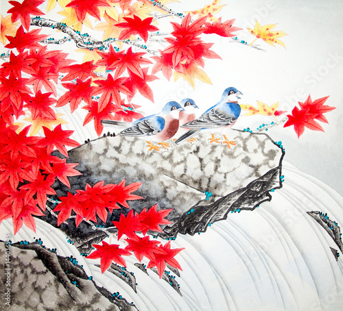 Chinese traditional painting of birds - 144036945