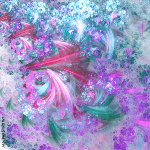 Garden Poster Blue fractal clouds, digital artwork for creative graphic design