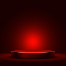 Abstract Round Podium Illuminated With Red Light Vector Background.