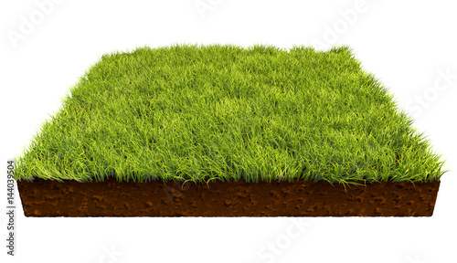 фотография  Square piece of land with green grass isolated on white background
