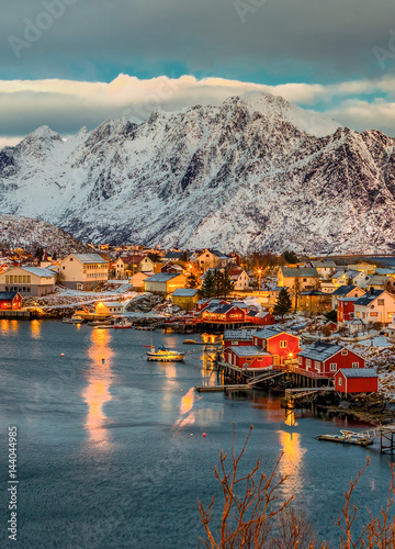 Poster Natuur View of the Reinefjorden with mountains on background at sunrise - Reine, Lofoten Islands, Norway