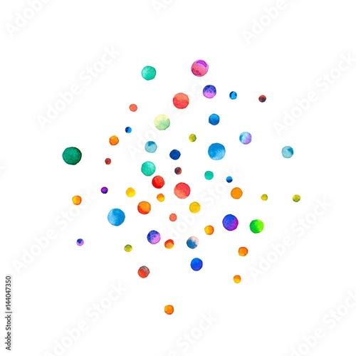 Fototapeta Sparse watercolor confetti on white background. Rainbow colored watercolor confetti sphere. Colorful hand painted illustration. obraz na płótnie