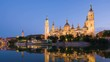 Zoom in timelapse of Zaragoza in a summer sunset