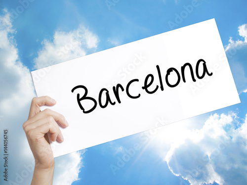 Photo  Barcelona Sign on white paper