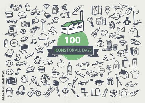 Obraz 100 pictogrammes pour tous les jours - fototapety do salonu