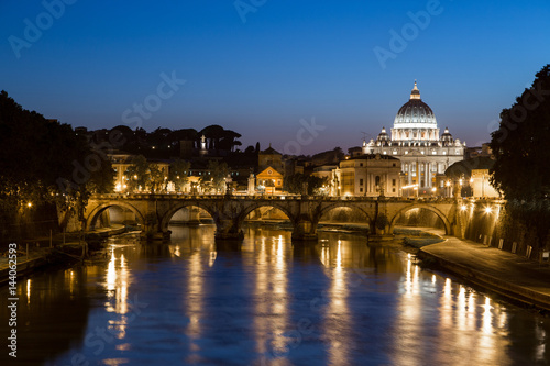 Staande foto Rome St. Peter's Basilica and Tiber River, Rome, Italy, Europe