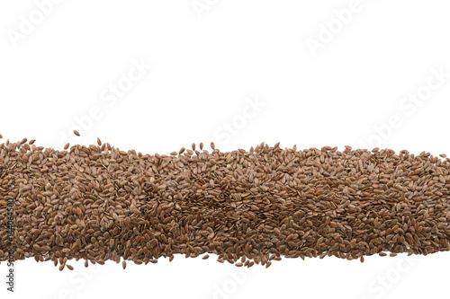 Fotografie, Obraz  Flax Seeds in Row on Isolated White