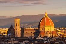 Europe, Italy, Tuscany. Florence Cathedral With The Basilica Of Santa Maria Novella At Sunset Light - City Of Italy