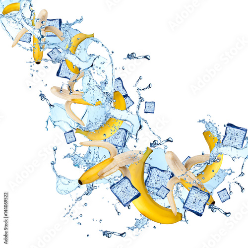 Palm tree Water splash with banana isolated on white background. Splash motion with fruits. Abstract object