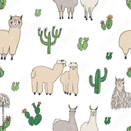 recznie-rysowane-doodle-wzor-z-alpaki-lamy-kaktusy