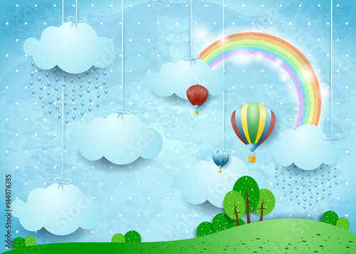 Foto op Aluminium Lichtblauw Fantasy landscape with rain and hot air balloons