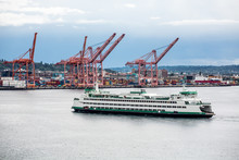 Green And White Ferry By Seattle Freight