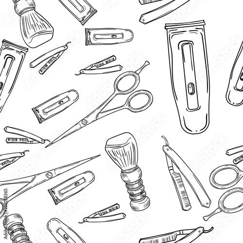 Poster Kranten Hand drawn retro barbershop seamless pattern.