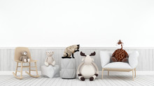 Cat Playing With Doll Reindeer Bear And Giraffe In Kid Room - 3D Rendering