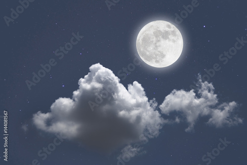 Recess Fitting Night Romantic night with full moon in space over stars with cloudscape background. wonderful night.