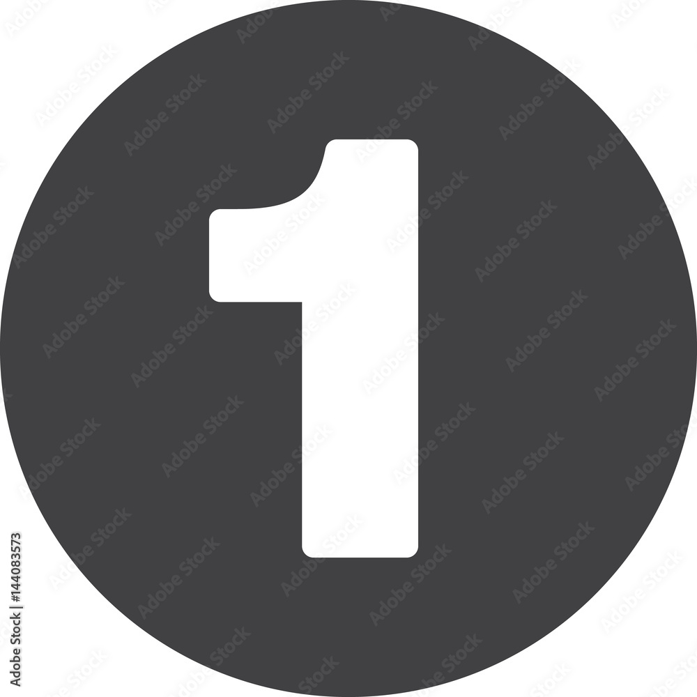 Fototapeta Number 1 flat icon, circular sign, round button one