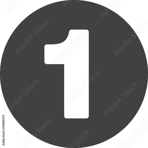 Fototapeta Number 1 flat icon, circular sign, round button one obraz