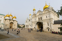 Assumption Cathedral, Ivan The Great Bell Tower, And Archangel Cathedral Inside The Kremlin, Moscow, Russia