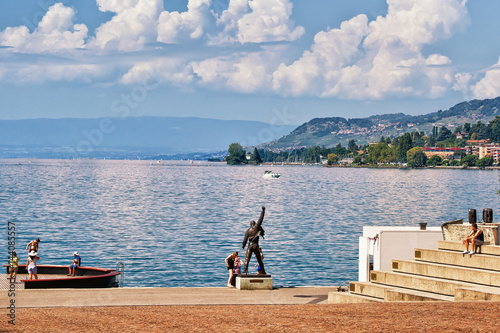 Photo  People at Freddie Mercury statue at Geneva Lake in Montreux