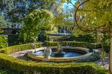 Ornate Water Fountain In Garden
