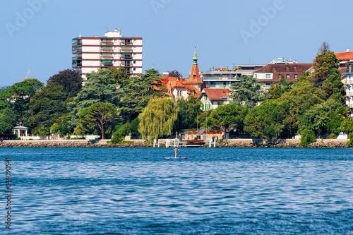 Fotobehang Landschap Panorama of Montreux town and Geneva Lake