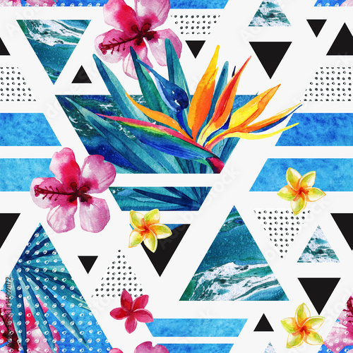 Abstract summer geometric seamless pattern with exotic flowers - 144091172