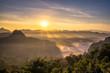 Scenic landscape sunshine over hill in morning