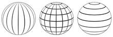 Set Spheres Globe Earth Grid, ...