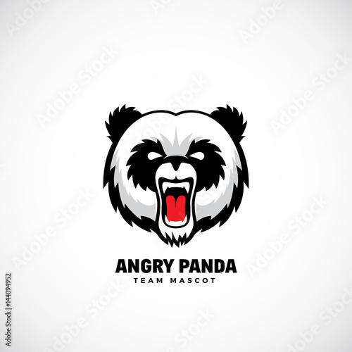 Angry Panda Abstract Vector Team Mascot Label Or Logo Template Bear Face Icon Without Background