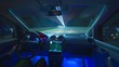 The man drive a car in the evening highway. Inside view. Hyperlapse. Wide angle