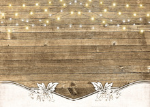 String Of Lights On Rustic Wood With Textured Border