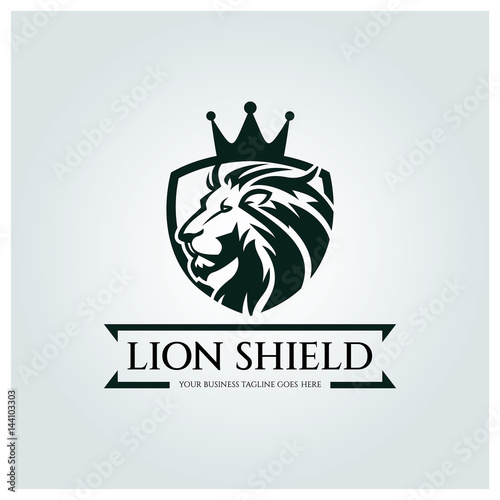 lion shield logo design template element for the brand identity