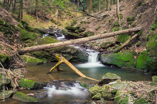 Fototapety, obrazy: Forest brook between mossy rocks. outdoor