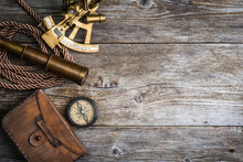 Compass,sextant And Spyglass O...
