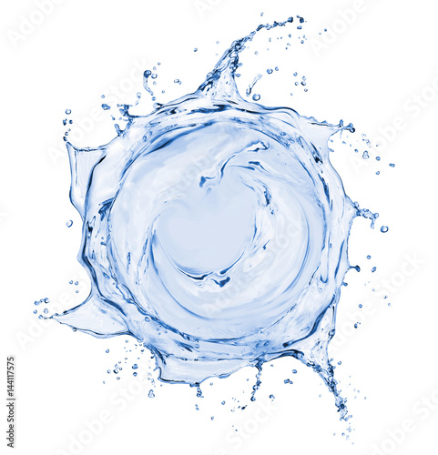 Splashes of water in the form of a swirling vortex, isolated on white background