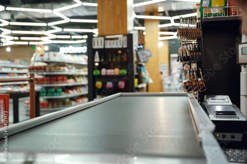 Cashier's desk in supermarket shop