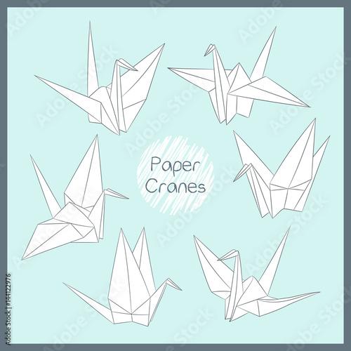 Set Of Paper Cranes Origami Bird Figure Japanese Symbol Of