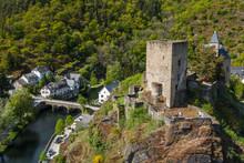 Ruins Of The Castle In Esch-sur-Sure Village, Luxembourg