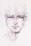 Mystic man face and ornament. pencil drawing on old paper. - 144124580