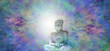 Pure Enlightenment Buddha Banner - Buddha in meditative lotus position with white light behind head on a beautiful multicolored energy field background and plenty of copy space