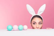 Surprised Bunny Woman Found Easter Eggs
