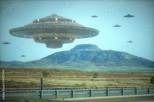 Poster UFO Alien mother ship. Alien invasion of spaceships.
