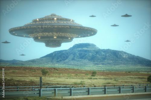 Fototapeta Statek matka cudzoziemca. Inwazja obcych statków kosmicznych.