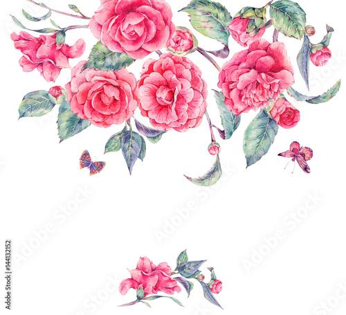 Leinwandbilder - Vintage watercolor garden flowers with pink camellia