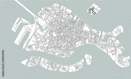 Fotografie, Obraz map of the city of Venice, Italy