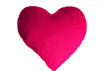 Love feeling symbol. Red pink plush heart.