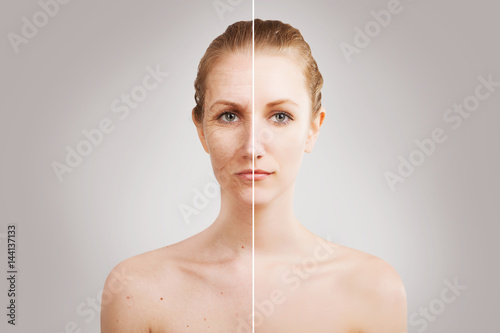 Photo  halves of blond woman face portrait