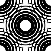 Circles Seamless Pattern. Background With Grid, Mesh Of Intersecting Circles. Black White Abstract Regular Texture With Concentric Circles, Rings