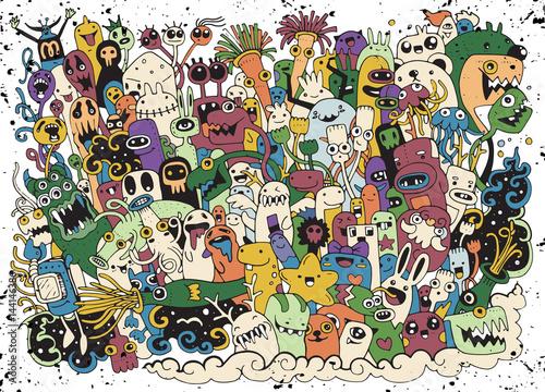 Hipster ręcznie rysowane Szalony doodle Potwór grupa rysunek stylu. Ilustracja wektorowa