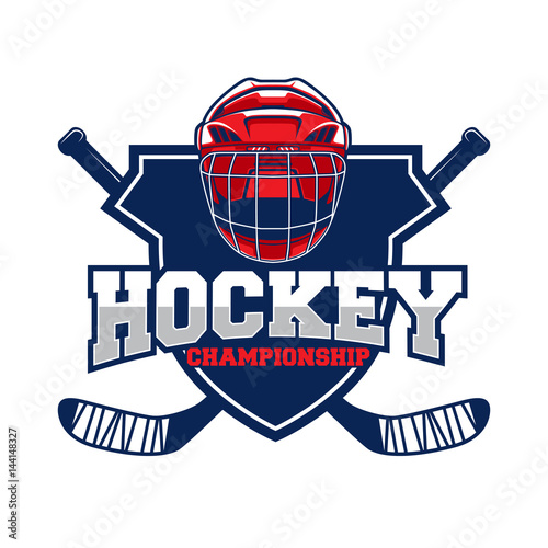 Colorful Hockey Tournament Challenge Logo Label On Shield Buy This